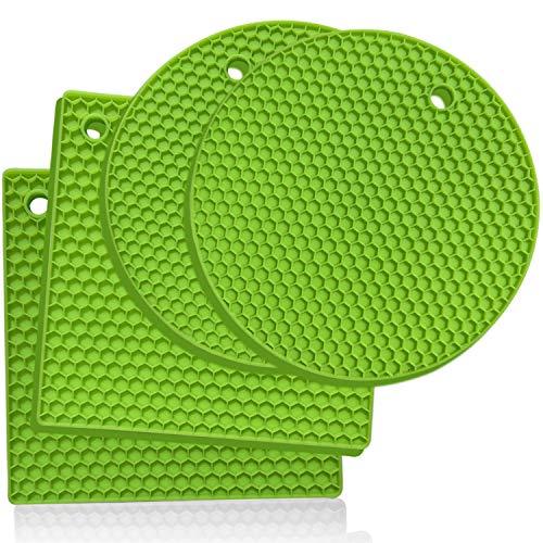 Silikon -Untersetzer: 4er set Topf-Halter und Untersetzer - Ofenhandschuhe,Hitzebeständiges Topflappen-Set für warme Speisen - Küchen-Topflappen, Glasöffner, Löffelhalter, topfuntersetzer - Gelbgrün