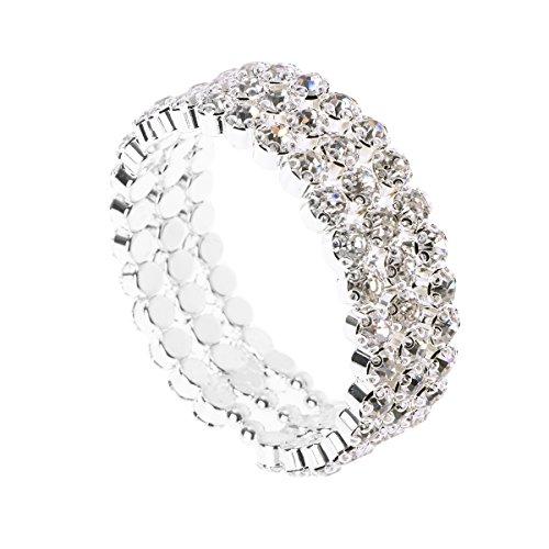 bestoyard Armband Offene tachonada Strass-Armband mit Strass-Armband drei Schichten (Silber)