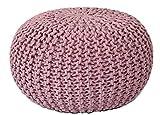 MAB Sitzpuff Sitzhocker Bodenkissen ver. Farben Ø 55 cm Baumwolle handgeknüpft (Outdoor Pink, Rosebloom)