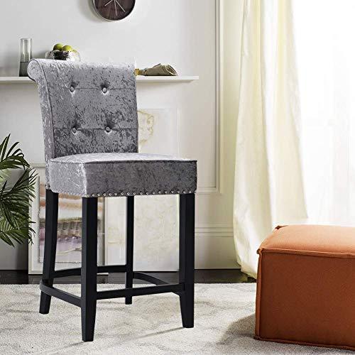 AMYZ Set di 1 sedie da Bar Sgabello da Bar Imbottito con schienale Alto in velluto di Ghiaccio con Battente ad anello Gambe in Legno Sedia da colazione per Pub, bancone, cucina, Sala da pranzo, g