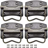 SDTC Tech 4 Pack Antique Bronze Wooden Box Puller Handles Side Panel Mounted for Suitcase Toolbox Cabinet Jewelry Box (74 x 62 x 76mm)