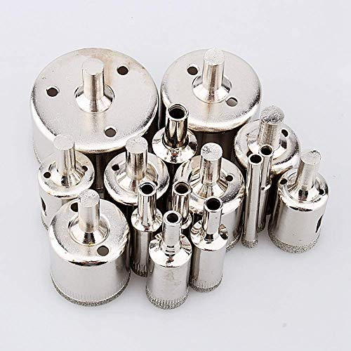 GUOCAO Diamond Drill Bit, 15 Pieces Diamond Drill Set 6mm 8mm 10mm 12mm 14mm 16mm 18mm 20mm 22mm 25mm 26mm 28mm 30mm 40mm 50mm, Glass, Tiles and Marble Tools