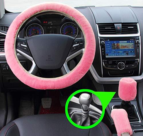 Set 3 pezzi Coprivolante peluche Coperchio freno a mano in lana sintetica Fodera per auto Copridivano per auto Coprisedili per auto Accessori interni (pink for Manuale)