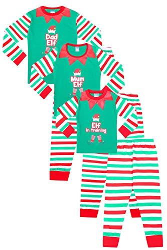 Pijama de elfo para familia de Navidad – papá elfo, mamá elfo, elfo en entrenamiento Verde verde 40/42 ES
