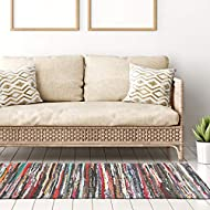 100% Recycled Handmade Multi-Coloured Chindi Floor Rug 70 x 140 cm