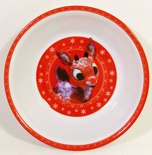Rudolph the Red-Nosed Reindeer Melamine Mealtime 4-Piece Set (Section Plate, Round Plate, Bowl and Cup))