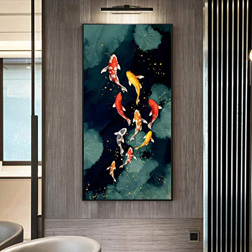 Peces Koi Feng Shui carpa Lotus Pond imágenes lienzo pintura pared arte para sala de estar decoración moderna para el hogar imagen 50X100cm sin marco