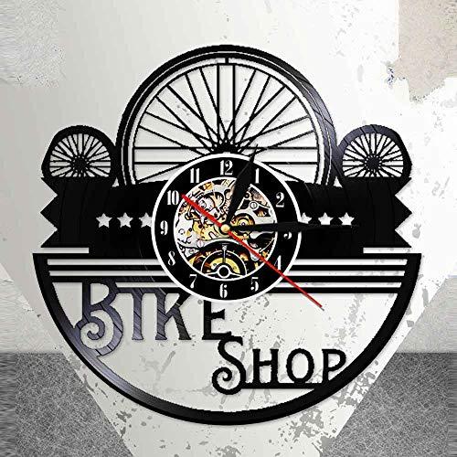 BFMBCHDJ Bike Shop Wanduhr aus echtem Vinyl Rekord Motorradfahrer Motto Biker Schwarz Hängende Uhr Fahrrad Radfahrer Nachtlicht Lampe Mit LED 12 Zoll