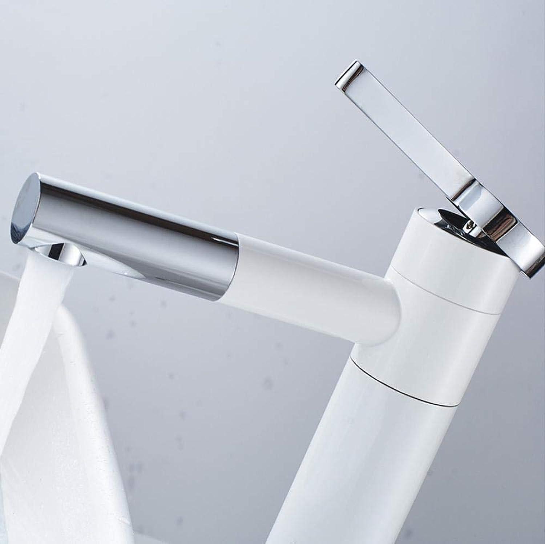 Waschtischarmaturen Waschtisch-Mischbatterie 720 Grad drehen Typ Waschtischarmatur Wei und Silber Chrom Badarmaturen Einhandmischer Torneira