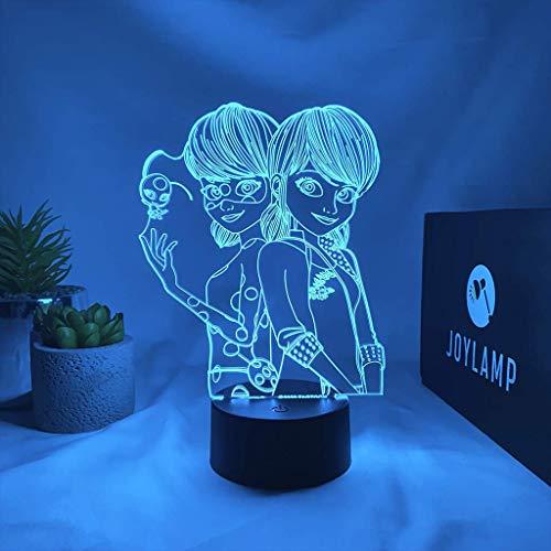JoyLamp Ladybug y Marinette de Miraculous – Colección oficial JoyLamp x Miraculous – 16 colores + mando a distancia – Lámparas 3D Miraculous