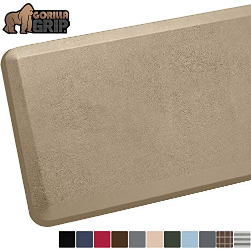 GORILLA GRIP Original Premium Anti-Fatigue Comfort Mat, 60x20, Phthalate Free, Ergonomical, Extra Support and Thick, Kitchen, Laundry and Office Standing Desk Mats, Beige