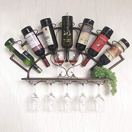 Chunjiao Pared Colgando Vino Estante de Vino Pared Colgante Vino gabinete Vino Vidrio Soporte Negro/marrón Botellero/botellero/Estante (Color : Brown)