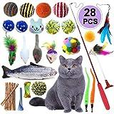 giocattoli per gatti, pietypet 28 pezzi giochi interattivi gatti, bacchetta interattiva retrattabile, gatto giocattoli interattivi gioco per gattino kitten indoor