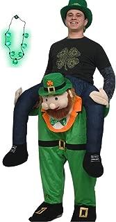 Adult St Patricks Day Carry Me Ride A Leprechaun Costume Shamrock Necklace Set
