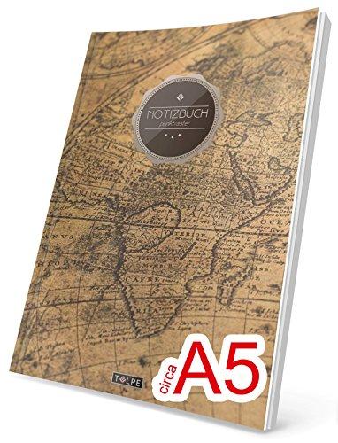 """TULPE Punktraster Notizbuch: Ca. A5 """"C075 Auslandsreise"""" (Vintage Softcover, Register, Punktpapier - Bullet Journal, Kalligraphie Übungsheft, Skizzenbuch, Gepunktete Seiten, Dotted Grid Journal)"""