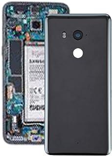 قطع غيار QFH غطاء خلفي للبطارية مع عدسة كاميرا لهاتف HTC U11+ (أسود) الغطاء الخلفي للشبكات الكهربائية (اللون: أسود شفاف)