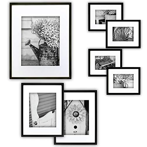 Gallery Perfect 7 Piece Black Photo Frame Wall Gallery Kit with Decorative Art Prints & Hanging Template (Renewed)