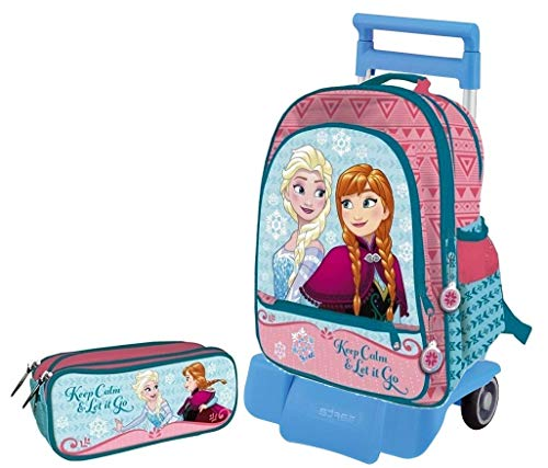 Frozen Zaino Scuola Grande con Carrello Staccabile e Pieghevole. 41 x 34 x 18,5 cm, Astuccio 3 Zip Incluso
