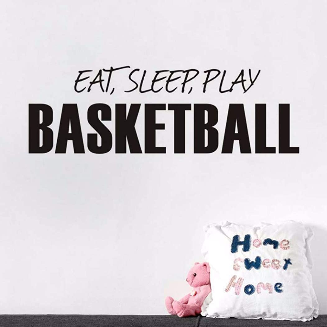 Eat Sleep Play Basketball Words Wall Sticker DIY Mural Poster Wall Decals for Kids Room Home Decor Boys Sport Ball Toy 126X41CM