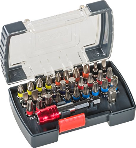 kwb Power Bit-Box – 32-tlg inkl. Bits, Schnellwechsel-Bithalter mit Magnet in stabiler Kunststoff-Box