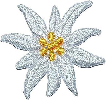 Bügelbild 6,2 cm * 5,5 cm Blume Edelweiß Aufnäher Applikation Blumen Bayer