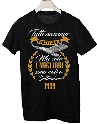 Tshirt Compleanno Tutti Nascono Uguali ma Solo i Migliori Sono Nati a Settembre 1959 - Idea Regalo