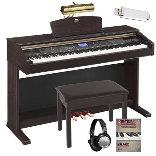 Yamaha Arius YDPV240 YDP-V240 Digital Piano Keyboard Bundle with Bench, Headphones, Lamp