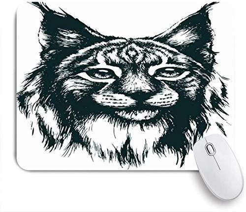 HUAYEXI Stoff Mousepad,Hunter Smart Lynx Tattoo Schnurrbart Tiere Zeichnung Wildlife Nature Artwork Wild,Rutschfest eeignet für Büro und Gaming Maus