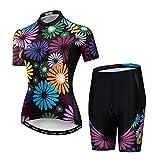 Cycling Jersey Short Sleeve Women MTB Bike Clothing Road Bicycle Shirts Shorts Padded Flowers Size L