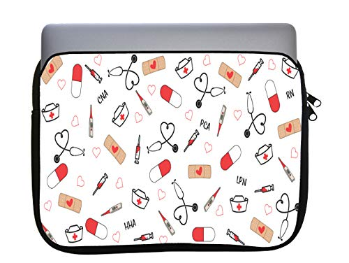 Cute Medical Stethoscope and Bandaids 11x14 inch Neoprene Zippered Laptop Sleeve Bag by Sorem Designs for MacBook or Any Other Laptop