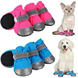 Geyoga 8 Pieces Breathable Dog Boots Mesh Dog Shoes with Adjustable Straps Non-Slip Soft Sole Dog Paw Protector Boots for Small and Medium Sized Dog Daily Walking (M, Rose Red and Blue)