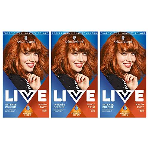 Schwarzkopf Live Intense Colour Hair Dye, Permanent Colour & Built-In Vibrancy Serum – 3x 030...