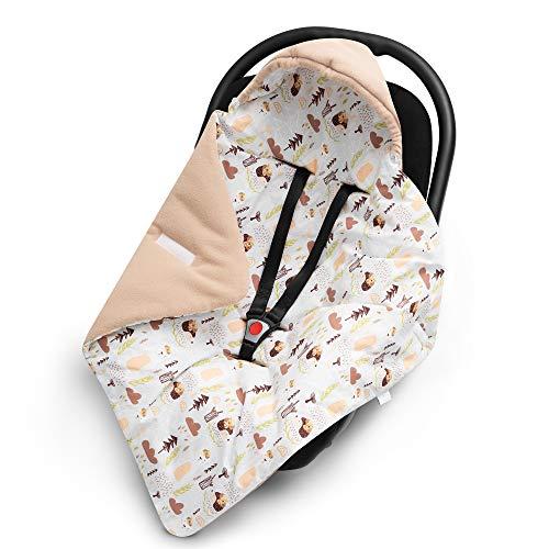 EliMeli EINSCHLAGDECKE für Babyschale - Warme Baby Decke für Autositz und Kinderwagen mit Füllung Babyhörnchen Kuscheldecke Kinderwagedecke universal z.B. Maxi Cosi (Beige - Teddys und Igel)