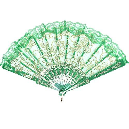 Demarkt Abanico Plegable de Plástico Ventilador de la Danza con Flor de Rose de Encaje(Verde)