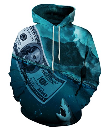Neemanndy Unisex Realistic 3D Print Pullover Long Sleeve Hoodies Sweatshirt with Pocket, Large