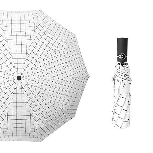 Roshow Diez Huesos Paraguas Automático Glue Glue Umbrella Barra Plegable de Dos Personas, Paraguas de Dos propósitos, Hombres, Mujeres, Paraguas Simple Simple-Gant_23 Pulgadas * 10k