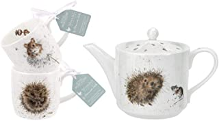 Wrendale Designs Hedgehog & Mice Tea for Two Set | Includes Teapot and 2 Mugs | Gift Boxed Porcelain