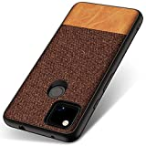 Kapa Soft Fabric & Leather Hybrid Protective Case Cover for Google Pixel 4A (Brown)