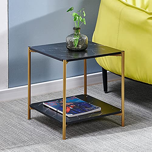 MeJa 2-Tier Side Table Sofa Table Bedside Table Lamp Stand Marble Effect Storage Shelf End Table Snack Table Metal Frame MDF Board Bedroom Home Office Lounge Reception Room (Black marble effect)