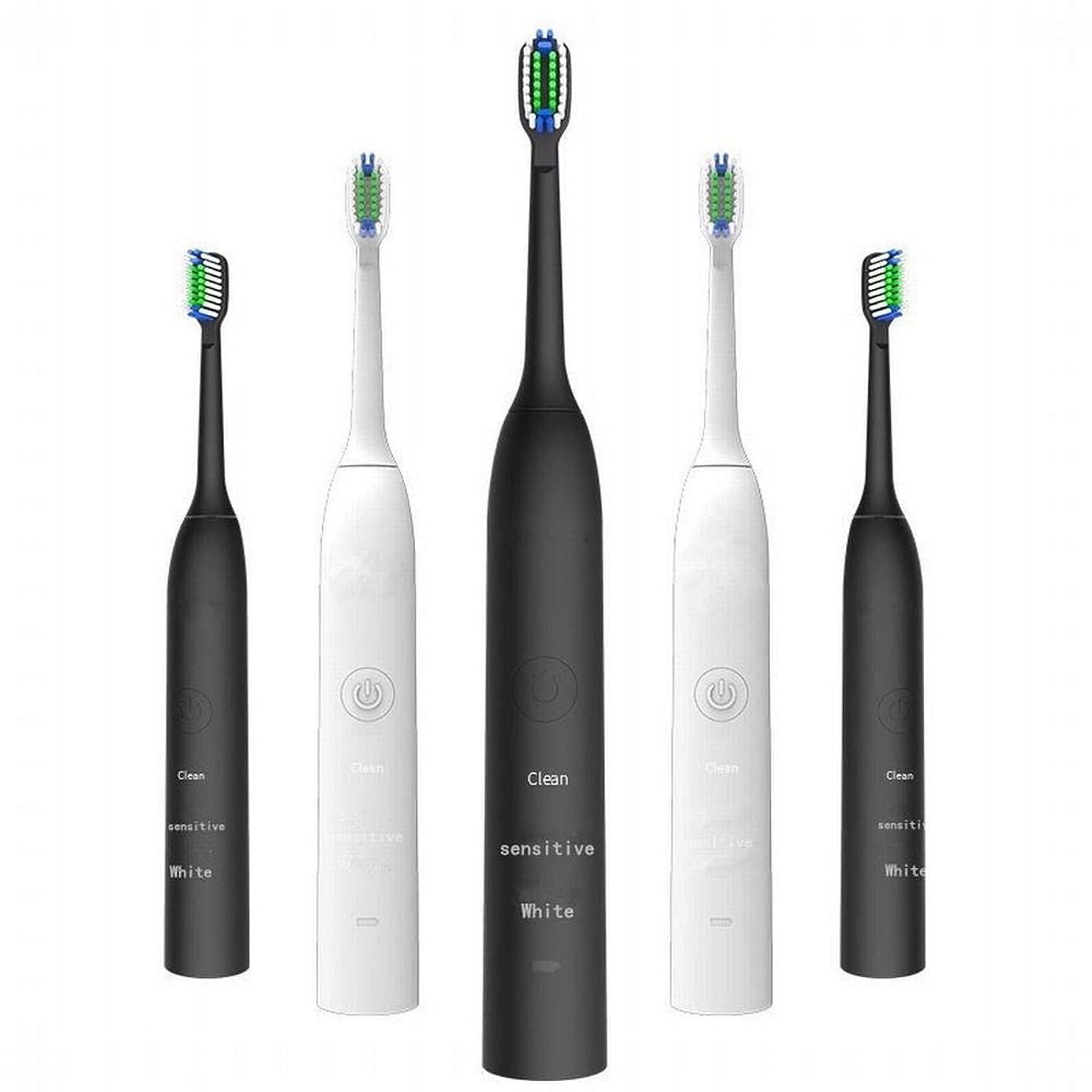ワーカー飾る悪魔LKJASDHL 充電式電動歯ブラシ2つのブラシヘッドで3速度調整誘導充電音波振動歯ブラシキッズ電動歯ブラシ (色 : White)