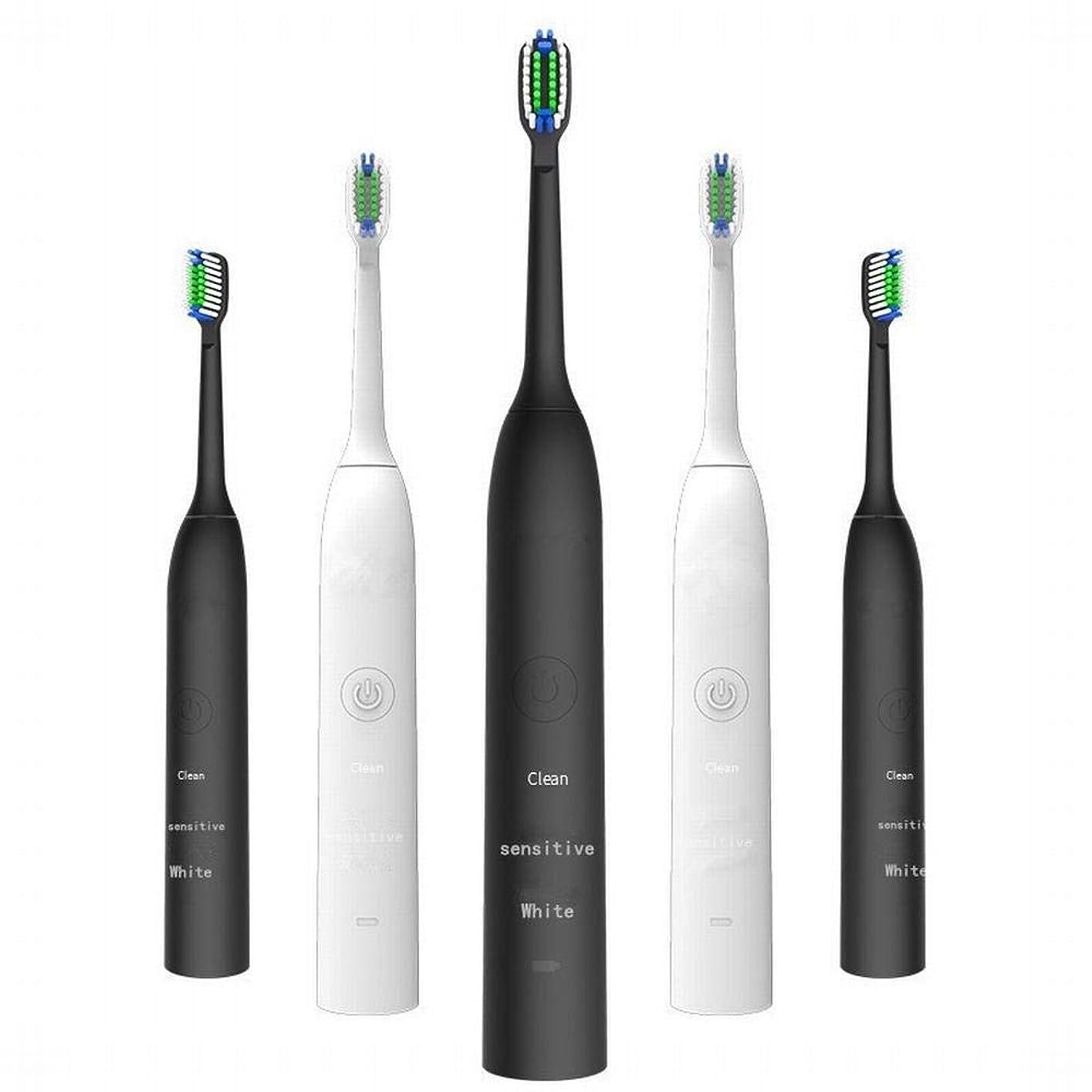 納得させるショッピングセンター迷路電動歯ブラシ 充電式電動歯ブラシ2つのブラシヘッドで3速度調整誘導充電音波振動歯ブラシキッズ電動歯ブラシ (色 : White)