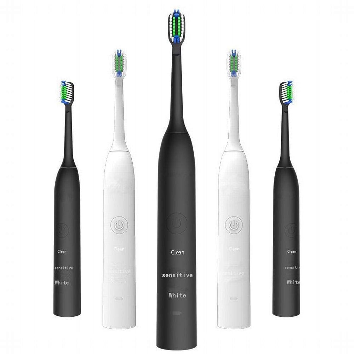 アロングシールドヒューバートハドソン電動歯ブラシ 充電式電動歯ブラシ2つのブラシヘッドで3速度調整誘導充電音波振動歯ブラシキッズ電動歯ブラシ (色 : White)