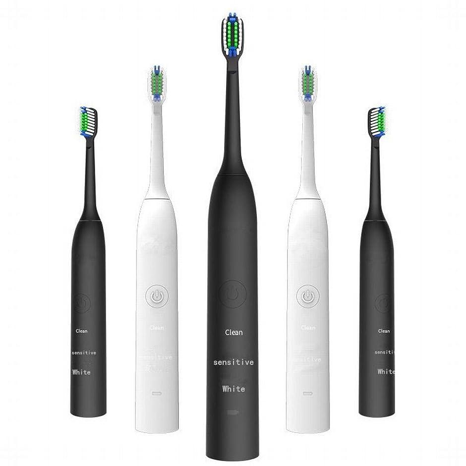比率パノラマレッドデートLKJASDHL 充電式電動歯ブラシ2つのブラシヘッドで3速度調整誘導充電音波振動歯ブラシキッズ電動歯ブラシ (色 : White)