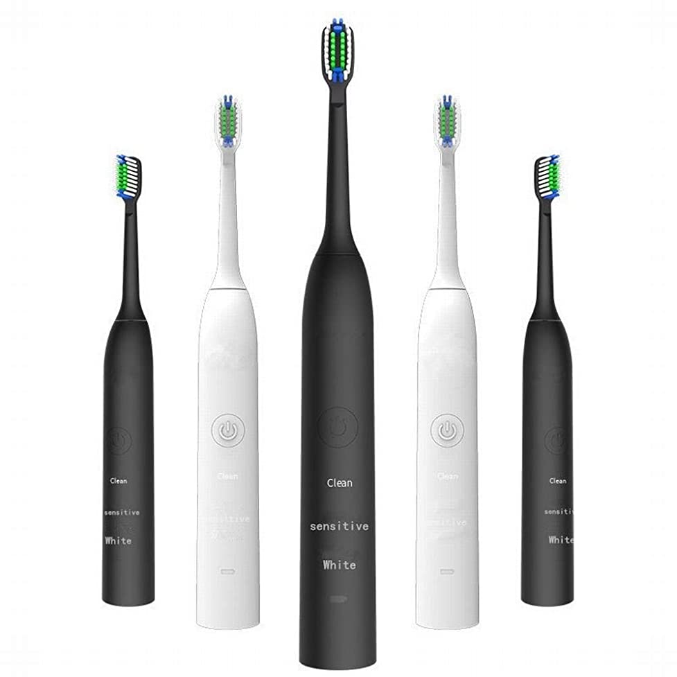 電動歯ブラシ 充電式電動歯ブラシ2つのブラシヘッドで3速度調整誘導充電音波振動歯ブラシキッズ電動歯ブラシ (色 : White)