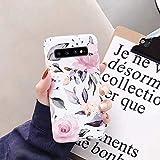Uposao Kompatibel mit Samsung Galaxy S10 Plus Hülle Crystal Case Schutzhülle mit Muster Motiv Blumen Blätter Weiche TPU Silikon Slim Stoßfest Ultra Dünn Handyhülle Backcover Tasche,Pink Blume