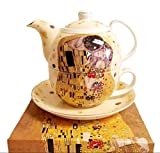 Atelier Harmony Gustav Klimt Tee for One Crema El Beso - Tetera de porcelana con caja de regalo