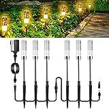 GreenClick LED 6 Stück Wegeleuchten, Außenwegleuchten Ausziehbare Gartenleuchten Acryl-Warmes Weiß 12V Wasserdichte Niederspannungs-Landschaftsleuchten für die Auffahrt zum Rasen-Patio-Hof