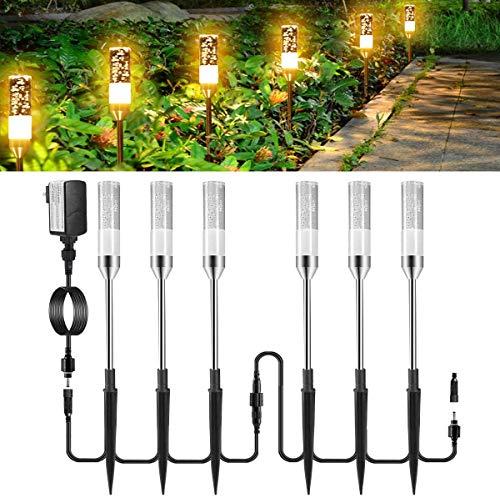Gartenbeleuchtung GreenClick 6er Set Gartenleuchte außen strom, wegbeleuchtung außen led mit kabel, Gartenlampe warmweiß mit Erdspieß IP65 wasserdicht, Außenleuchte mit Stecker für Outdoor Rasen Hof