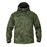 Lilychan Men's Military Soft Shell Tactical Jacket Outdoor Sports Hunting Army Waterproof Outerwear Coat (X-Large, Russian Camouflage)