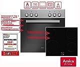 Amica EHC 933 021 E Einbauherd-Set mit Glaskeramik-Kochfeld, SCHOTT CERAN - Edelstahl